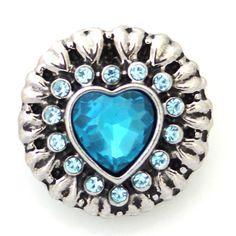 1 PC 18MM Blue Heart Rhinestone Chunk Pop Charm Zinc Silver Candy Snap Popper kb5307 CC1287 Diameter Size: 18MM Material: Zinc Alloy and rhinestones