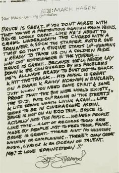 a letter of recommendation that Joe Strummer wrote for Bruce Springsteen