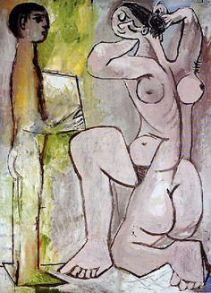 """Pablo Picasso, """"La coiffure"""". Tableau unique en son genre par ses tons de rose et de vert tendre et par son thème qui rappelle le « Harem » de 1906 Torsion du nu qui présente à la fois sa face, son dos et son profil La liberté du pinceau, les empâtements de la matière font de ce tableau un précurseur du style tardif"""