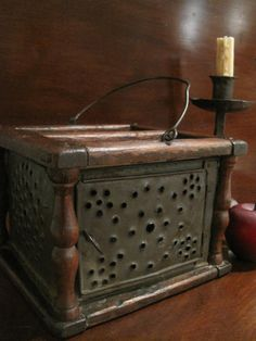 Antique New England Wood & Tin Metal Foot Warmer Stove with Coal Pan Circa 1780