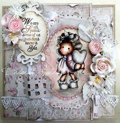 Magnolia card by Deb.x  'We are all special'  image: Tilda hiding heart