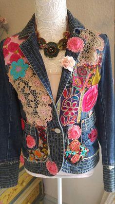 SALE MASSIVE REDUCTION reworked denim designer distressed gypsy Stevie Nicke rose bohemian velvet ibiza hippie boho jacket s/m Hippie Boho, Bohemian Style, Boho Chic, Indian Fabric, Embroidered Clothes, Denim Outfit, Refashion, Designer, Boho Fashion