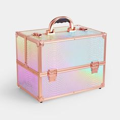 Large Beauty Case | Large Holographic | Beautify Expensive Lipstick, Dressing Table Storage, Acrylic Makeup Storage, Holographic Makeup, Cocktail Glassware, Rose Gold Frame, Cosmetic Items, Cosmetic Storage, Beauty Case