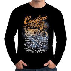 Velocitee Mens Long Sleeve T-Shirt American Indian Custom Motorcycles A17780  #VelociteeSpeedShop