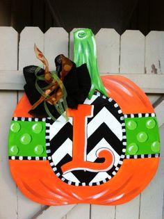 Halloween Polka Dot Chevron Monogrammed Wooden Door by Earthlizard, $45.00