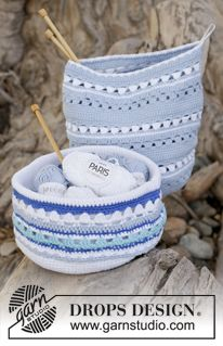 "Sea Treasure - Crochet DROPS baskets with stripe pattern in ""Paris"". - Free pattern by DROPS Design"