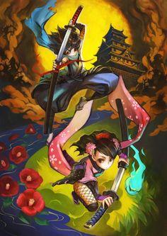 Muramasa: Demon Blade; un juego de acción y aventura en 2D con un fantástico arte dentro de los niveles y en personajes. Disponible para Wii.