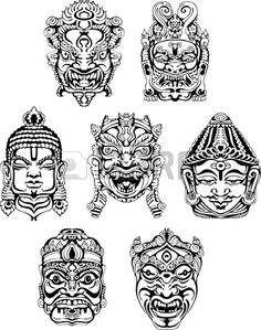 Indian Masks, a link to 'black night' Japan Tattoo Design, Sketch Tattoo Design, Tiki Tattoo, Shetland, Mask Drawing, Old School Tattoo Designs, Tiki Art, Mask Tattoo, Asian Tattoos