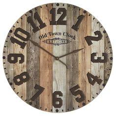 Diy Wall Clocks 66991113189044942 - Oversize Industrial Wood & Iron Wall Clock Brown Source by Brown Wall Clocks, Rustic Wall Clocks, Wood Clocks, Rustic Walls, Wooden Walls, Diy Wall Clocks, Farmhouse Clocks, Foyer Wall Decor, Wood Home Decor