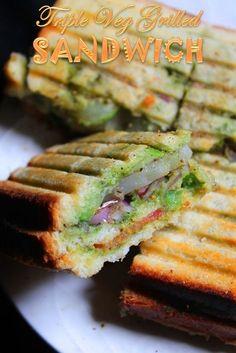YUMMY TUMMY: Triple Veg Grilled Sandwich Recipe / Bombay Vegetable Grilled Sandwich Recipe recipes for two recipes fry recipes Grill Sandwich, Grilled Sandwich Recipe, Vegetarian Sandwich Recipes, Potato Sandwich, Veg Recipes, Indian Food Recipes, Snack Recipes, Indian Sandwich Recipes, Vegetable Sandwich Recipes