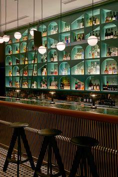 B is for Bar, Bottle Shop and Bold — Design Anthology Back Bar Design, Bar Counter Design, Lounge Design, Bar Lounge, Cafe Bar Counter, Sport Bar Design, Bar Interior Design, Restaurant Interior Design, Cafe Design