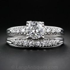A traditional mid-twentieth century vintage engagement ring with matching wedding band crafted in in platinum. The beautiful .90 carat European-cut diamond is set with four trefoil prongs. The matching wedding band sparkles with eight single-cut diamonds set across the top of the ring. Sleekly styled tapered ring shanks add the finishing flourish to this timeless vintage wedding set. In a finger size 9.