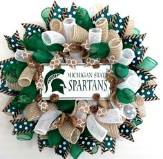 Michigan State, Michigan State Spartans, Spartans, Michigan, Wreath, Spartans Wreath, Michigan State Wreath by AnyOccasionWillDo on Etsy https://www.etsy.com/listing/203656192/michigan-state-michigan-state-spartans