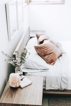 Salt lamp. Eucalyptus. Master bedroom