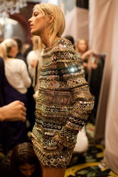 this is the most gorgeous jumper i will never own. Image with Balmain. Pierre balmain, balmain embroidered and embellished knit dress, model anja rubik, balmain backstage, balmain paris fashion week. Looks Street Style, Looks Style, Fashion Details, Look Fashion, Paris Fashion, Fashion Wear, Dress Fashion, Fashion Clothes, Fashion Beauty