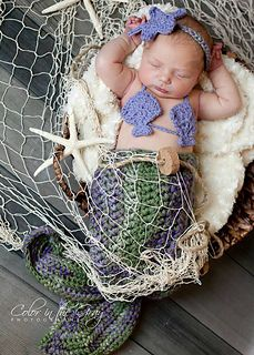 Includes: Mermaid Tail pattern, Sea Shell Bikini Top pattern, and Headband pattern (with flower or anemone).
