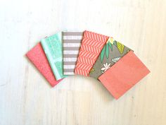 Notebooks: 6 Tiny Journals, Small Notebooks, Pink, Teal, Grey, For Her, For Him, Kids, Gift, Unique, Mini Journals, Party Favors, Wedding