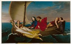 This artwork by Hernandez shows the Virgin Mary and St. John the Evangelist travelling by boat to Ephesus. Two angels guide them along the way. Notice that Our Lady holds the crown of thorns that Christ wore during his Passion. St John The Evangelist, St Clare's, Ephesus, Crown Of Thorns, Antique Illustration, John The Baptist, Catholic Saints, Caravaggio, Stock Art
