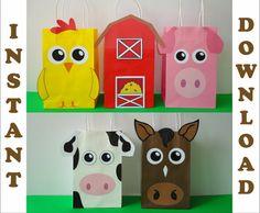 DIY Barnyard/ Farm/ Barn Animals Party Favor bags/ Birthday Party Supplies/ Goodie/ Goody/ Treat/ Candy Bags/ Bag/ Printable Decoration