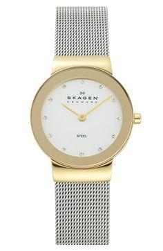 Skagen 'Freja' Mirror Bezel Mesh Strap Watch, 26mm available at #Nordstrom