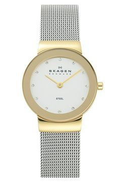 Skagen 'Freja' Mirror Bezel Mesh Strap Watch, 26mm available at #Nordstrom