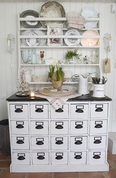 """Love this Painted Apothecary Hutch..  with even more drawers- I would gladly trade my """"project hutch"""" for this! Why do apothecary drawers go so fast?!"""