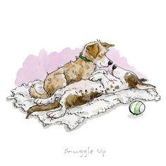 Anita Jeram A Dog's Life, Snuggle Up, print - Atishoo Gallery Je hebt kattenliefhebbers en Dog Illustration, Illustrations, Cute Drawings, Animal Drawings, I Love Dogs, Cute Dogs, Anita Jeram, Dog Artist, Dog Life