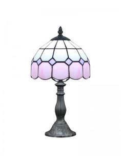 Resin Base Modern Tiffany Pink Glass Beside Table Lamps