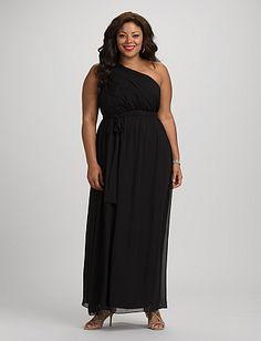db RSVP™ Plus Size Long One-Shoulder Dress