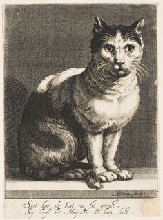 Cornelis Bloemaert (Dutch, c. 1603-1692) after Hendrick Bloemaert (Dutch, active Utrecht 1601-1672) - A Cat with a Mouse