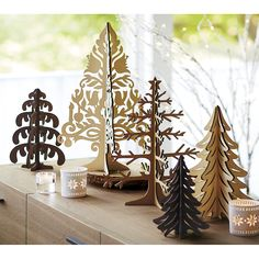 Laser-Cut Wood Drippy Tree | Crate and Barrel