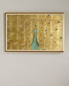 Gold Leaf Peacock Oversized Art at Horchow. Gold Leaf Art, Gold Wall Art, Gold Art, Canvas Wall Art, Peacock Painting, Peacock Art, Bild Gold, Arte Pop, Gold Paper