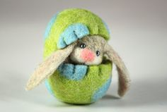 Needle Felted Easter Bunny in a Wool Felted Easter Egg. by MiaPuPe, $28.00