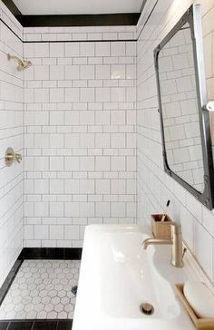 White Shower Tiles With Black Grout - Design photos, ideas and inspiration. Amazing gallery of interior design and decorating ideas of White Shower Tiles With Black Grout in bathrooms, laundry/mudrooms by elite interior designers. Home Interior, Bathroom Interior, Modern Bathroom, Small Bathrooms, Interior Design, Minimalist Bathroom, 1930s Bathroom, Modern Bathtub, Modern Sink