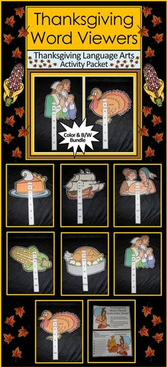 Thanksgiving Word Viewers Activity Packet: Fun Thanksgiving language arts activity! Practice spelling, phonics, and writing with these Thanksgiving Word Viewers! Contents include seven Thanksgiving viewers & word strips and two Thanksgiving-themed student record sheets.   #Thanksgiving #Spelling #Writing #Phonics #Activities #Teacherspayteachers