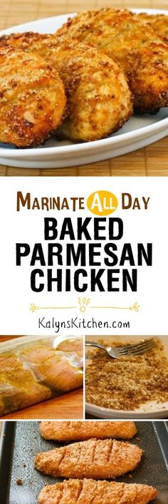 This Marinate-All-Day Baked Parmesan Chicken is easy and delicious for a family-friendly meal. This recipe uses a tiny amount of breadcrumbs combined with Parmesan to coat the chicken, but replace the breadcrumbs with almond meal for a version that's low-carb and gluten-free.    [found on KalynsKitchen.com]