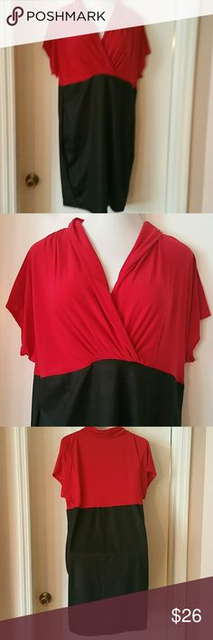 *Ask for PRICE DROP* Chic Red & Black Dress Beautiful red & black dress, high waisted with cowl v-neck. Pullover style, no belt or loops. Comes with black necklace. Size is 3x but runs small. Re-Poshing, never worn. Material is 92% Polyester 8% Spandex. Excellent condition. Divine Doll Dresses