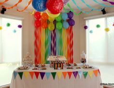 birthday party, balloon backdrop and dessert table! See more party ideas at !Rainbow birthday party, balloon backdrop and dessert table! See more party ideas at ! Trolls Birthday Party, Unicorn Birthday Parties, Birthday Balloons, First Birthday Parties, Birthday Party Decorations, First Birthdays, Birthday Ideas, Diy Rainbow Birthday Party, Birthday Backdrop