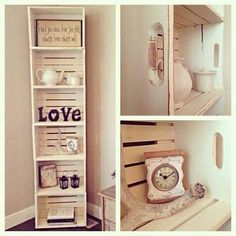 Fascinating DIY Crate Crafts to Transform your Living Room Forever Things made of wood have the vintage look that goes well with a decorated house. See how you can put these DIY crate crafts to use in your interior décor. Crate Crafts, Crate Decor, Diy Crafts, Crate Bookshelf, Wood Crate Shelves, Apple Crate Shelves, Bookshelf Storage, Diy Home Decor, Room Decor