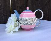 HuesNbrews Pink, Blue, Black and White Modern Teapot - Mid Century Modern Teapot