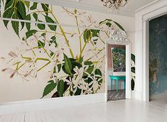 China Berry [Melia azedarach] Mural by Bernard and Harriet Pertchik In 2019 we see the transition fr Picture Rail, Botanical Wallpaper, White Lilies, Subtle Textures, Home Trends, Color Of The Year, Winter Garden, Wall Murals, Backdrops