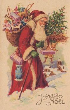 French Santa in Snow Old Fashion Christmas Tree, Vintage Christmas Images, Old Fashioned Christmas, Christmas Past, Victorian Christmas, Father Christmas, Christmas Specials, Vintage Santa Claus, Vintage Santas
