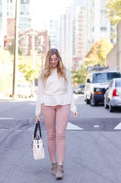 Bare Clearly Contacts, Peasant Blouse, AEO Sateen blush Jeggings #STYLE #OUTFIT #FASHION