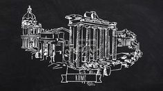 Rome Forum Romanum self drawing lines by Hebstreit #linedrawing #selfdrawing #lines #pen #chalkboard #chalk #footage #hebstreit