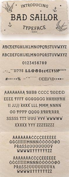 Bad Sailor Tattoo Font - Test drive this font: https://graphicriver.net/item/bad-sailor-tattoo-font/21431217?ref=ksioks