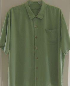 6e86f131ddcc Tommy Bahama Camp Shirt XXL Men Olive Green Silk Hawaiian Palm Tree  Caribbean SS  TommyBahama