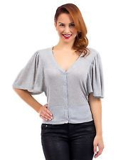 G2 Fashion Square Women's Short Flared Sleeve Button Up Cardigan(TOP-CGN,GRY-L)