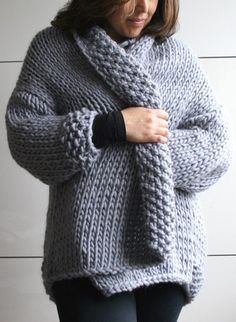 Knitting Pattern for Easy Sweater Coat - Knit in stockinette with textured cuffs and lapels, this coat sweater is a quick knit in super bulky yarn and rated easy by the designer.