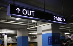 Brookfield Place Parking Garage - Overhead illuminated directional sign