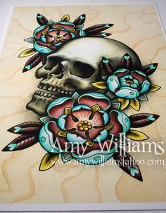 Skull & Roses Tattoo Art A3 Print